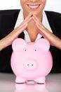Donna di affari with piggy bank Fotografia Stock Libera da Diritti