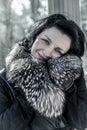 Donna di luxury beautiful nell inverno modello di moda girl di bellezza in a Fotografia Stock Libera da Diritti
