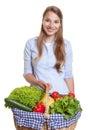 Donna di risata con un canestro della frutta e delle verdure Fotografia Stock Libera da Diritti