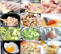 Donna di vettore della preparazione della cucina dell illustrazione dell alimento insieme dell alimento differente di immagini Fotografia Stock