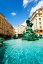 Donnerbrunnen fountain and monuments in vienna austria with sculptures on sunny day Stock Photography