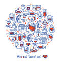 Donor icons circle blood donation sketch decorative set in shape vector illustration Royalty Free Stock Photos
