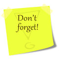Dont forget note on post it illustration Royalty Free Stock Photo