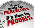 Dont wait for perfection time progress clock message don t it s words in a saying or quote on a face to illustrate the importance Stock Image