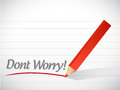 Dont worry written message illustration design over white Stock Image
