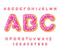 Donut ABC. pie alphabet. Baked in oil letters. icing and sprinkling. Edible typography. Food lettering. Doughnut font Royalty Free Stock Photo