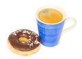 Donut with blue coffee mug isolated on white background Stock Image