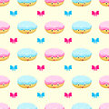 Donut cake cartoon seamless pattern