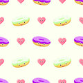 Donut cake seamless vector pattern