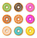 Donut cake set isolated on whitt background.