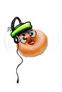 Donut Cartoon with Headphones Royalty Free Stock Images