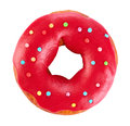 Donut With Colored Glaze, Isol...