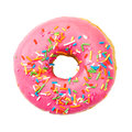 Donut with colorful sprinkles. Top view. Royalty Free Stock Photo