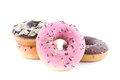 Donut colorful sweet on white background Royalty Free Stock Photo