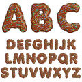 Donut font, tasty alphabets. Isolated objects. EPS10