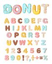 Donut icing latters, font of donuts. Bakery sweet alphabet. Letters and numbers. Donut alphabet and numbers, isolated on Royalty Free Stock Photo