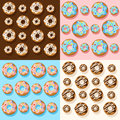 Donut illustration isolated on white Vector seamless pattern with colorful donuts with glaze and sprinkles on a white background.