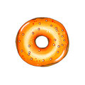Donut with orange topping. Hand drawn marker illustration.