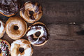 Donut Over Rustic Barn Wood Background Royalty Free Stock Photo