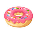 Donut with pink glaze and colorful sprinkles. Vector illustration.
