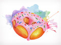 Donut with pink icing vector illustration
