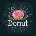 Donut with pink icing and white stripes. Vector color flat