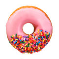 Donut with sprinkles isolated on white Royalty Free Stock Photo