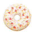 Donut with white icing colored topping isolated on background Royalty Free Stock Photos