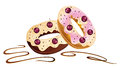 Donuts chocolate colorful with cherries and white Royalty Free Stock Photo