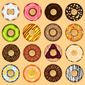 Donuts collection set an illustration of with various topping useful as icon illustration and background for food theme Royalty Free Stock Photos