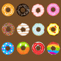 Donuts collection set an illustration of with various topping useful as icon illustration and background for food theme Royalty Free Stock Photography