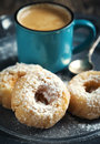 Donuts and cup of coffee. Royalty Free Stock Photo