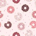 Donuts Graphic Seamless Pattern on Pink Background