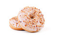 Donuts with hazelnut cream two over white background Stock Photography