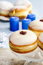 Donuts with jam party dessert dish Stock Photo