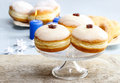 Donuts with jam party dessert dish Royalty Free Stock Image