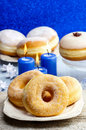 Donuts with jam party dessert dish Stock Photos