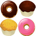 Donuts and muffins isolated on a white background vector illustration Stock Photo