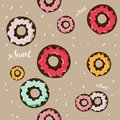 Donuts with pink, red, lemon, mint glaze falling on beige background. Seamless pattern. So sweet. hand drawing.background for wrap