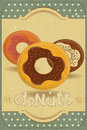 Donuts on Retro Card Royalty Free Stock Images
