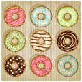 Donuts retro striped background vector illustration Stock Image