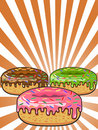 Donuts on Sunburst background Royalty Free Stock Image
