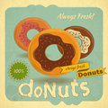 Donuts on vintage background retro postcard cover menu illustration Stock Photo