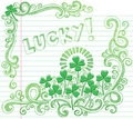 Doodle afortunado do trevo de quatro folhas do dia do St Patricks Fotografia de Stock