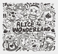 Doodle alice in wonderland element cartoon vector illustration Stock Photography