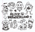 Doodle alice in wonderland element cartoon vector illustration Stock Image