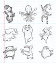 Doodle animal dance icons cartoon vector illustration Royalty Free Stock Images