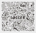 Doodle animal soccer player element cartoon vector illustration Royalty Free Stock Image