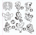 Doodle animal soccer player element cartoon vector illustration Stock Photos