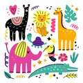 Doodle animals. Animal collection in minimalist style, funny llama, lion and giraffe, pink elephant, toucan bird and crocodile,